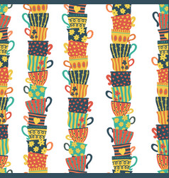seamless pattern piles stacked colorful tea cups vector image