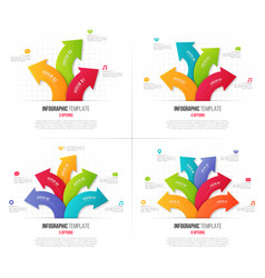 set 3-6 options infographics with branching vector image