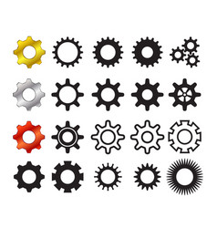 Set cog icons in many style vector