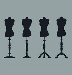 Set of 4 silhouettes of mannequins on carved legs vector