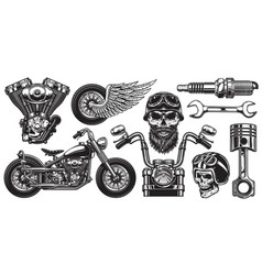 set of monochrome motorcycle elements vector image