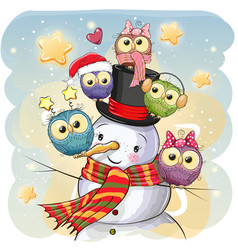 Snowman and five cute cartoon owls vector