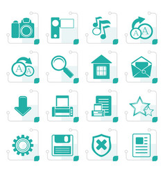 Stylized simple internet and website icons vector
