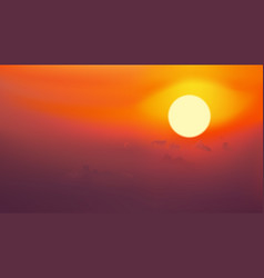Sunrise on red sky with cloud vector