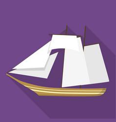 Topsail schooner ship icon flat style vector