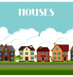 Town seamless border with cottages and houses vector image