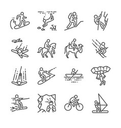 Travel activities line icon set vector