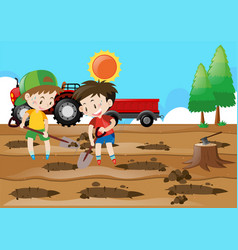 Two boys digging holes on the ground vector