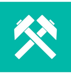 Two crossed hammers flat icon labor symbol vector image