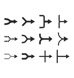 Unite Arrows Right Flat Icon Set vector