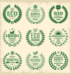 Vintage green eco product labels set vector