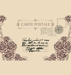 Vintage postcard with roses vector