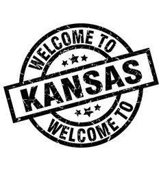 Welcome to kansas black stamp vector
