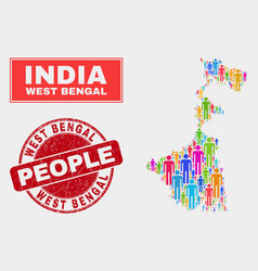 West bengal state map population people and vector