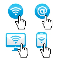 wifi symbol with cursor hand icons vector image