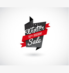 Winter sale label with red ribbon vector