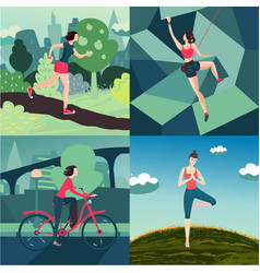 Woman outdoor sport activity workout on nature vector