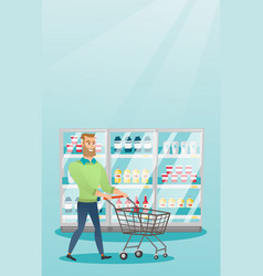 Young caucasian man with supermarket trolley vector