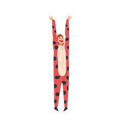 Young cheerful woman wearing spotted costume vector