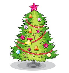 A big christmas tree with many decorations vector image vector image