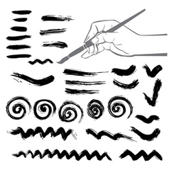Collection of paint splash Set of brush strokes vector image