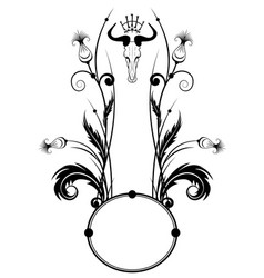 frame with thistle and skull vector image vector image