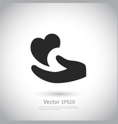 heart in hand symbol sign icon logo template vector image vector image