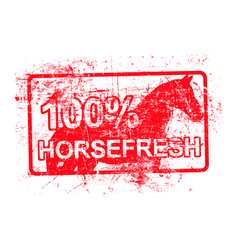 horsefresh - red rubber grungy stamp in vector image