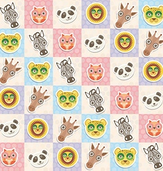 Set of funny animals muzzle owl panda giraffe lion vector image vector image