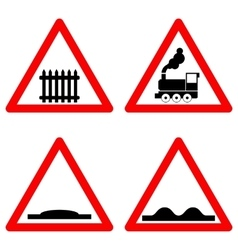 Traffic signs set on white background vector image vector image