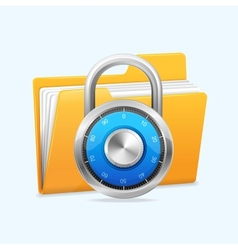 Yellow computer folder and combination lock vector