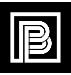 Capital letter B From white stripe enclosed in a vector image vector image