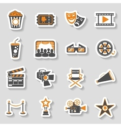 Cinema and Movie sticker Icons Set vector image vector image