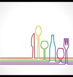 Label for restaurant with kitchen utensils vector image vector image