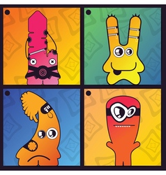 Set of four monster on abstract background vector image