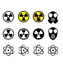 Set of nuclear icons in many style vector