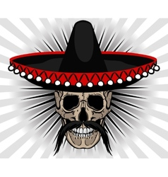 Skull Mexican style with sombrero and mustache vector image