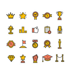 award signs color thin line icon set vector image vector image