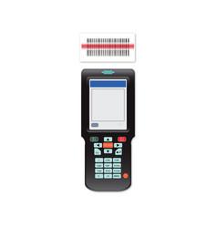 handheld mobile computer in hand or scanner vector image vector image