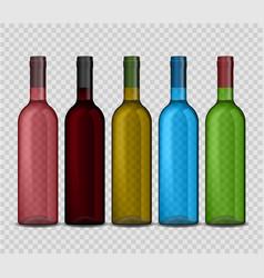 set of transparent bottle of wine on vector image