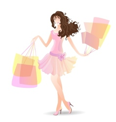 Shopping Day girl in summer vector image vector image