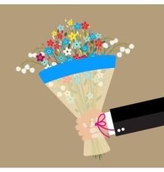 cartoon businessman hand holding bouquet flowers vector image vector image
