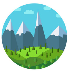 cartoon mountain landscape in circle vector image