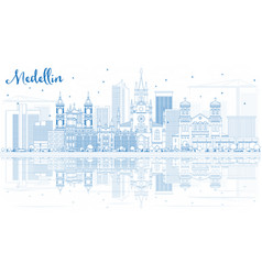 outline medellin skyline with blue buildings and vector image vector image