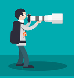 photographer with camera and big telephoto lens vector image vector image