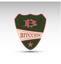shield with symbol bitcoin vector image vector image