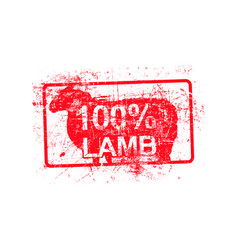 100 per cent lamb - red rubber grungy stamp in vector image