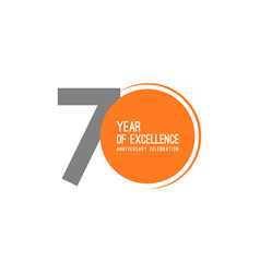 70 year excellence anniversary celebration vector