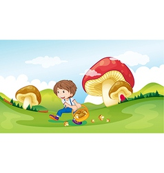 A kid and the mushrooms vector