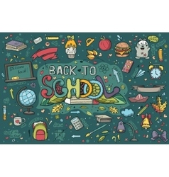 a large set handdrawn doodles back to school vector image